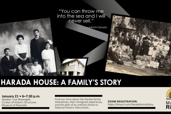 graphics with a photo of the Harada family and their house