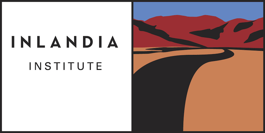 """Rectangular image comprised of two squares side by side. Left side reads """"Inlandia Institute"""". Right side is image of black road through red clay leading up into red hills with a blue sky behind them."""